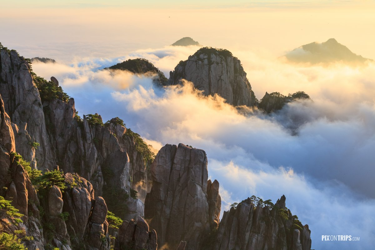 Mountain Huangshan of Anhui, China at sunrise. Mt ...