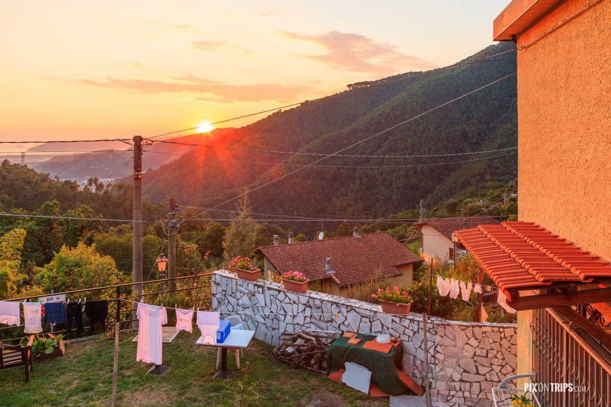 Sunset at a mountain village near Massa, Tuscany, Italy - Pix on Trips