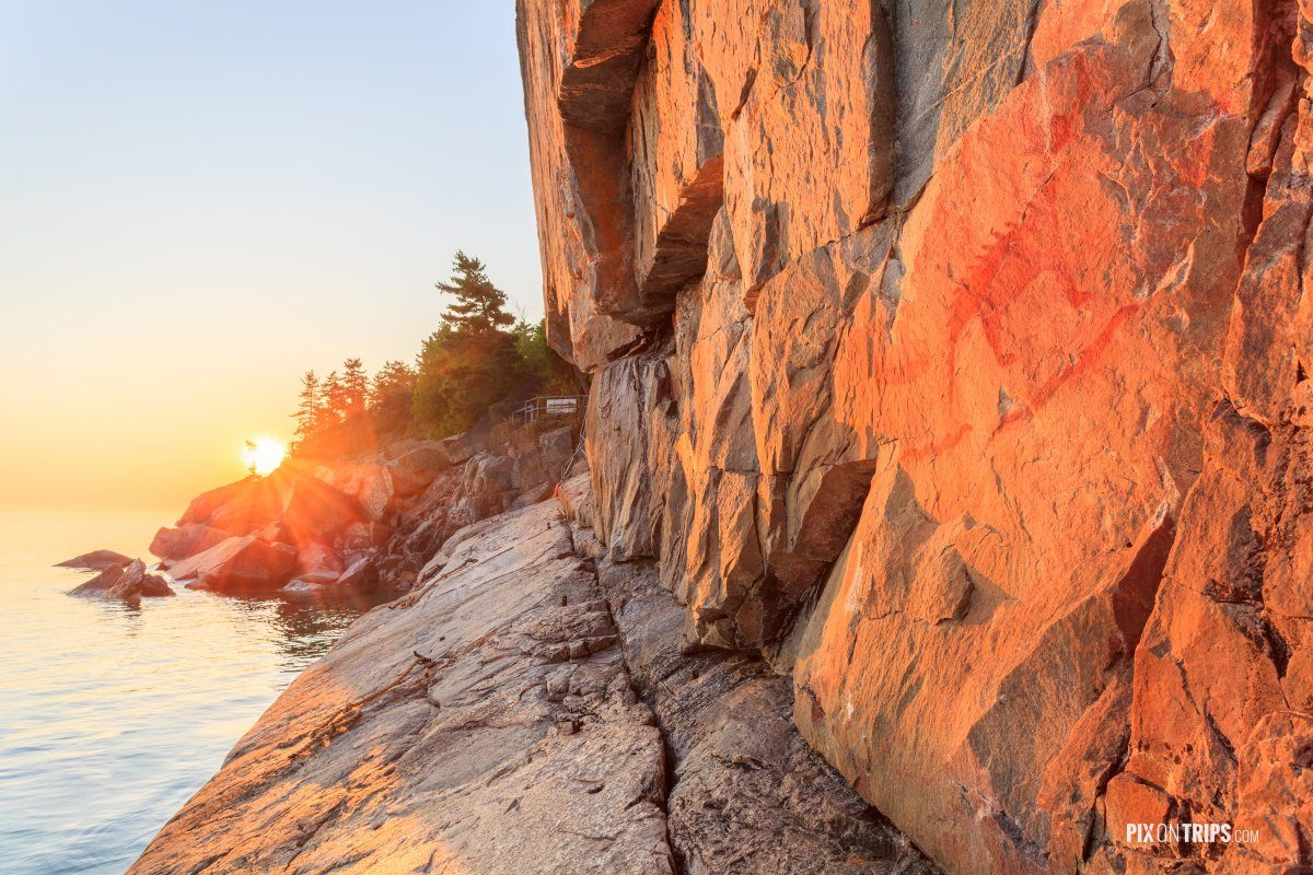 Agawa Rock at sunset - Pix on Trips