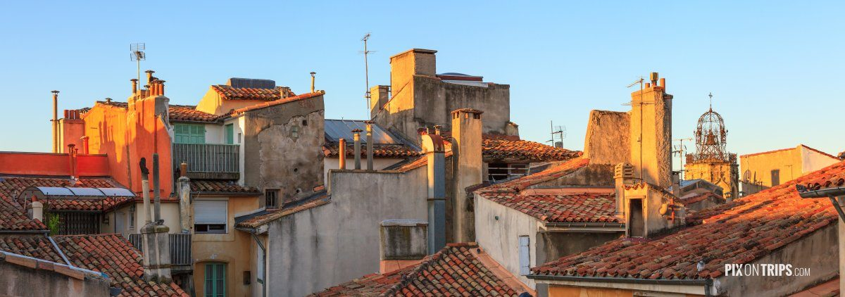Panorama of roof-top of old buidlings in Aix-en-Provence, France - Pix on Trips