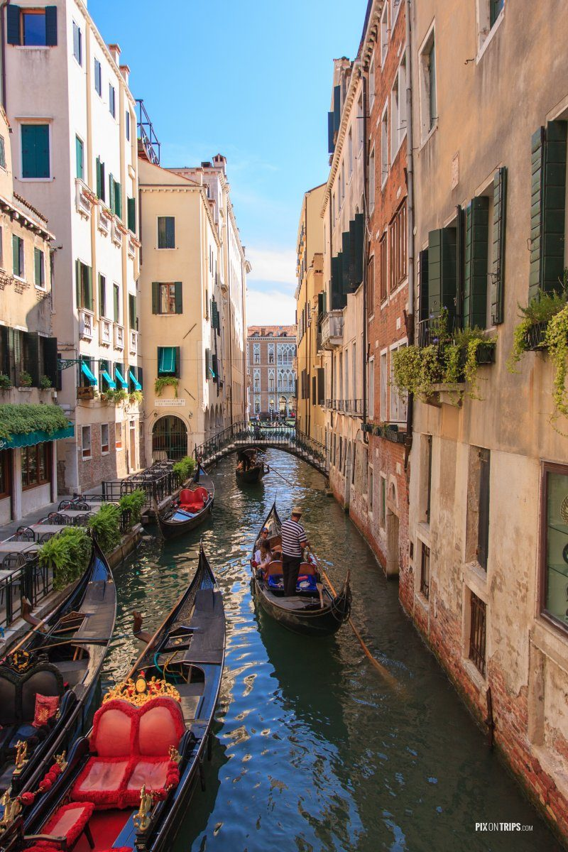 Gondolas and narrow canal in Venice, Italy - Pix on Trips