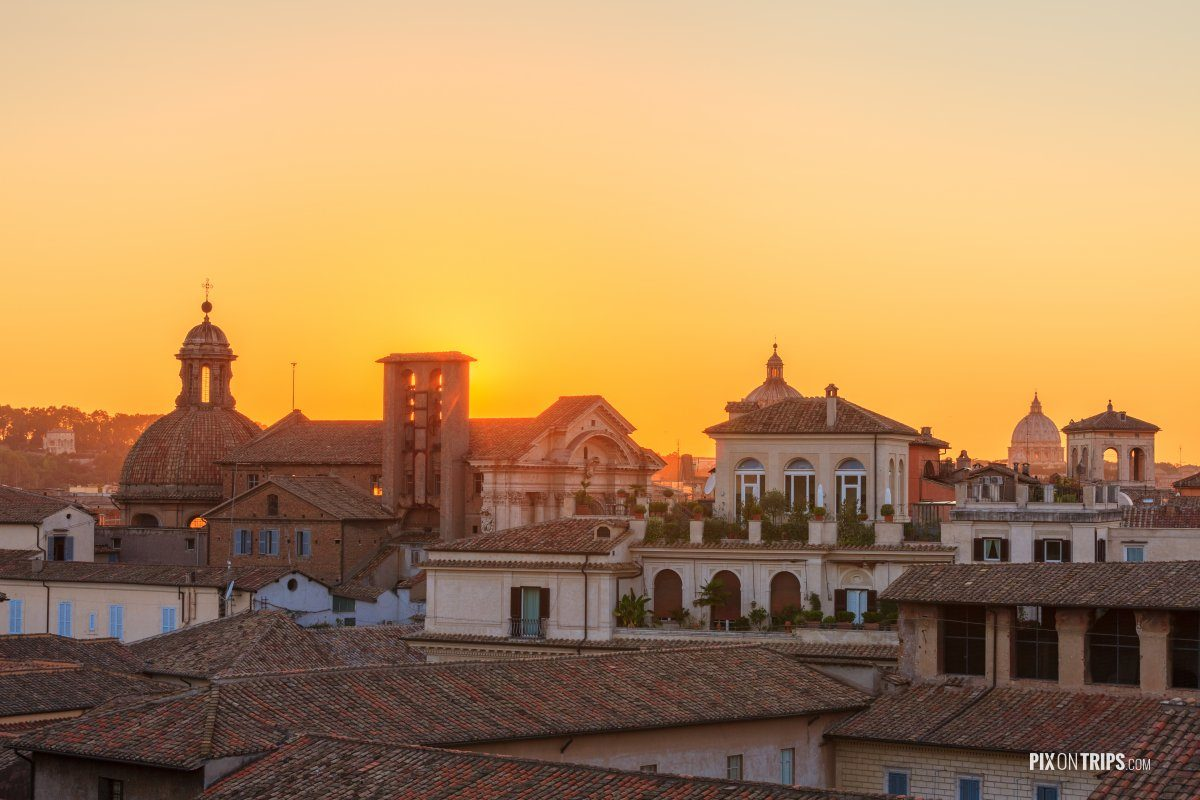 Cityscape of Rome at sunset - Pix on Trips