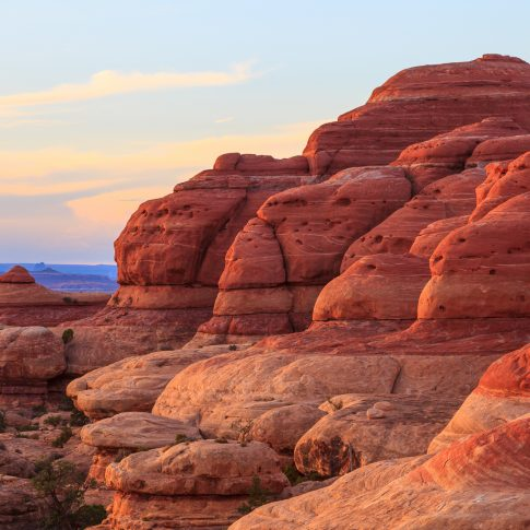 Red rock formations on the Elephent Hill trail of Canyonlands National Park