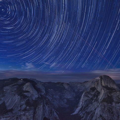 View of Yosemite National Park at night from the Glacier Point
