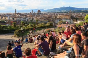 Tourists wait for sunset at Piazzale Michelangelo, Florence - Pix on Trips