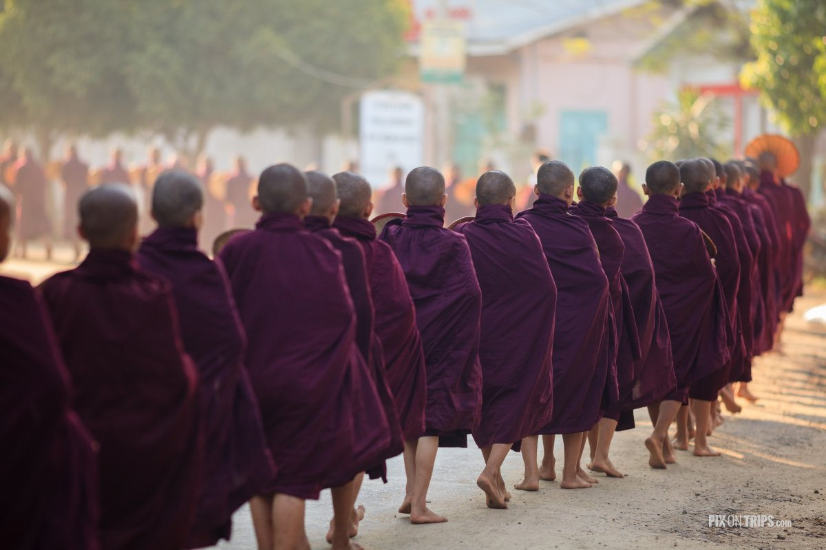 Buddhist monks lining up at lunchtime, Bagan, Myanmar - Pix on Trips