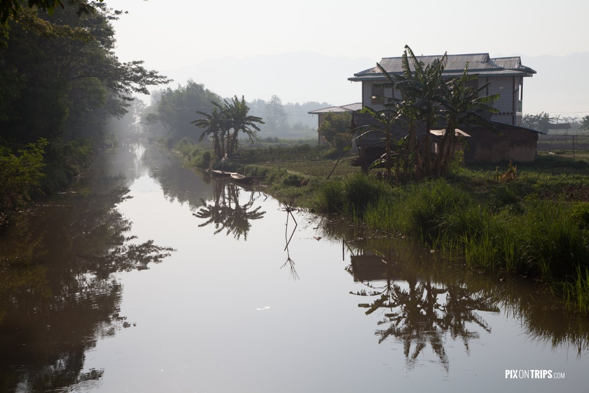 Canal and reflection in early morning, Nyangshwe, Myanmar - Pix on Trips