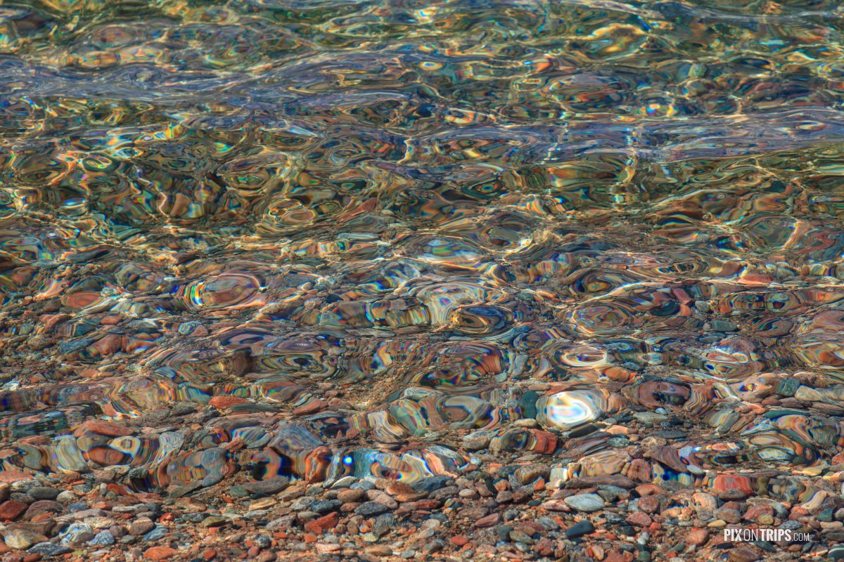 Close-up view of Beach pebble and pristine water, Lake Superior - Pix on Trips