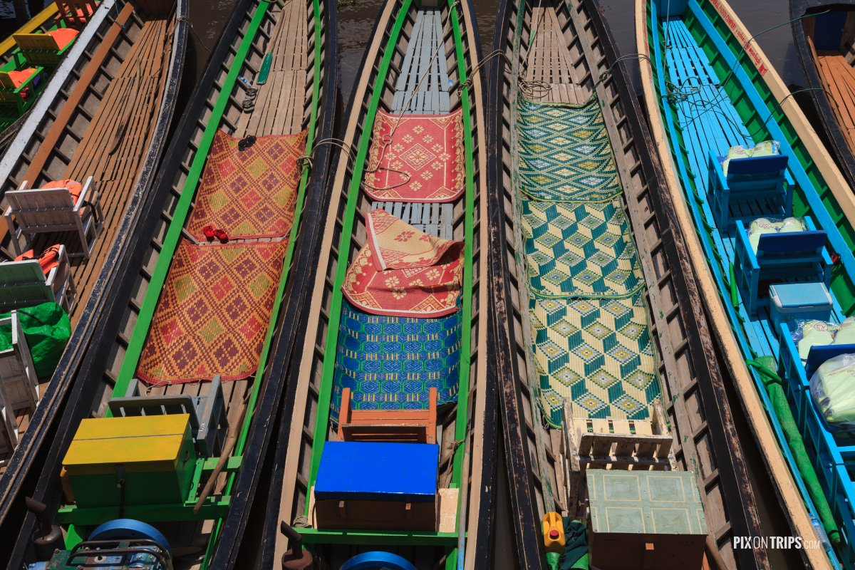 Colourful teakwood boats, Lake Inle, Myanmar - Pix on Trips