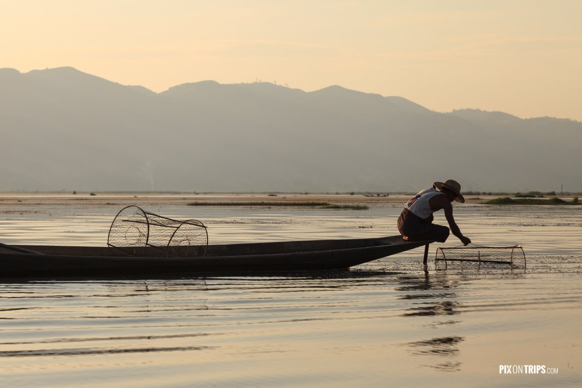 Fishermen checking nets for fish, Lake Inle, Myanmar - Pix on Trips
