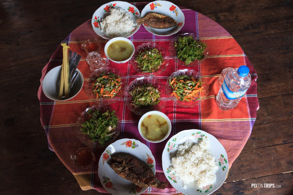 Home cooked meal using local ingredients, Lake Inle, Myanmar - Pix on Trips