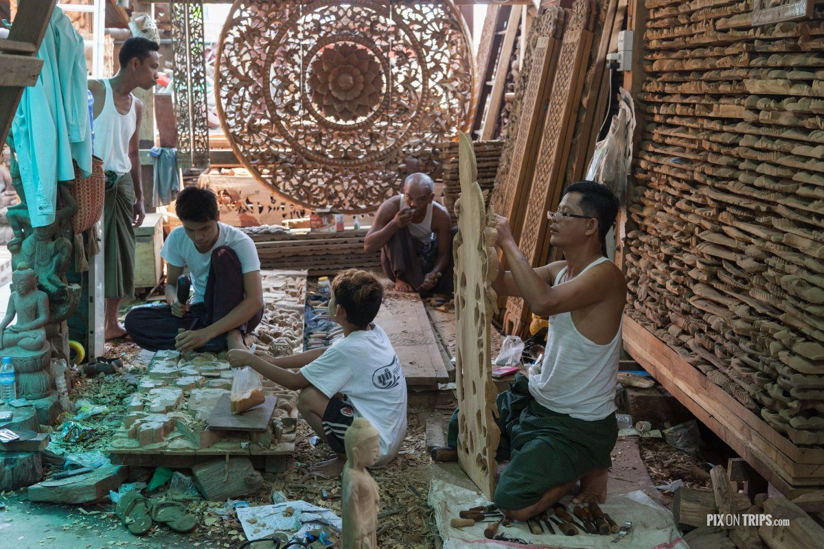 Inside wood carving workshop, Mandalay, Myanmar