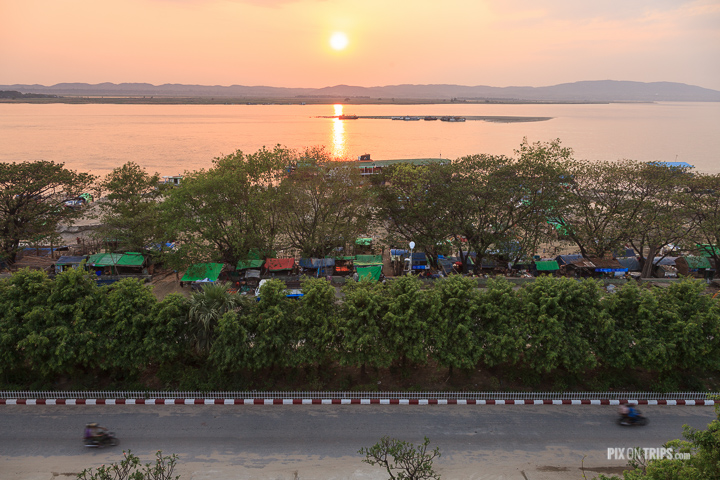 Panoramic view of Ayarwaddy River, Mandalay, Myanmar