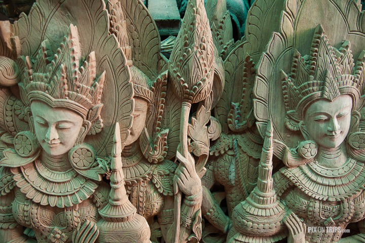 Wood carvings in workshop, Mandalay, Myanmar