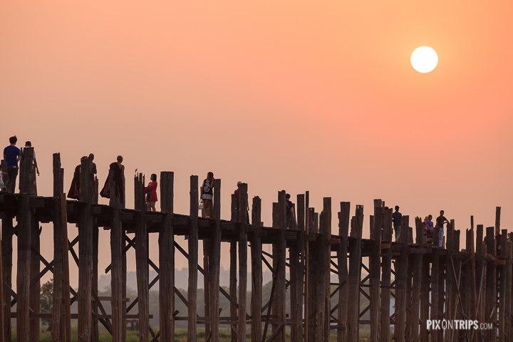 Close-up view of U Bein Bridge at sunset, Mandalay, Myanmar