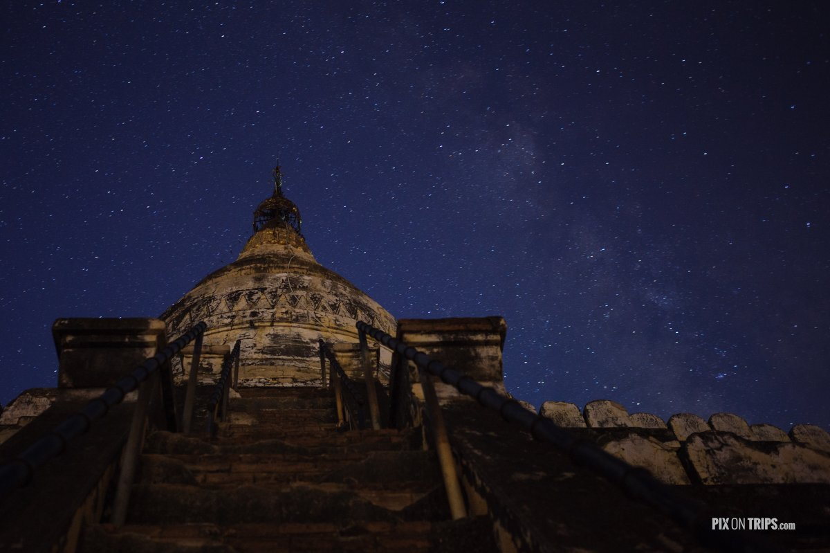 Shwesandaw Pagoda at night with the Milky Way, Bagan, Myanmar - Pix on Trips