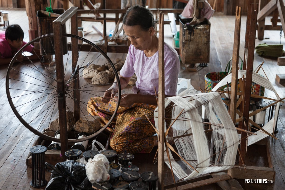 Spinning lotus thread in workshop, Lake Inle, Myanmar - Pix on Trips