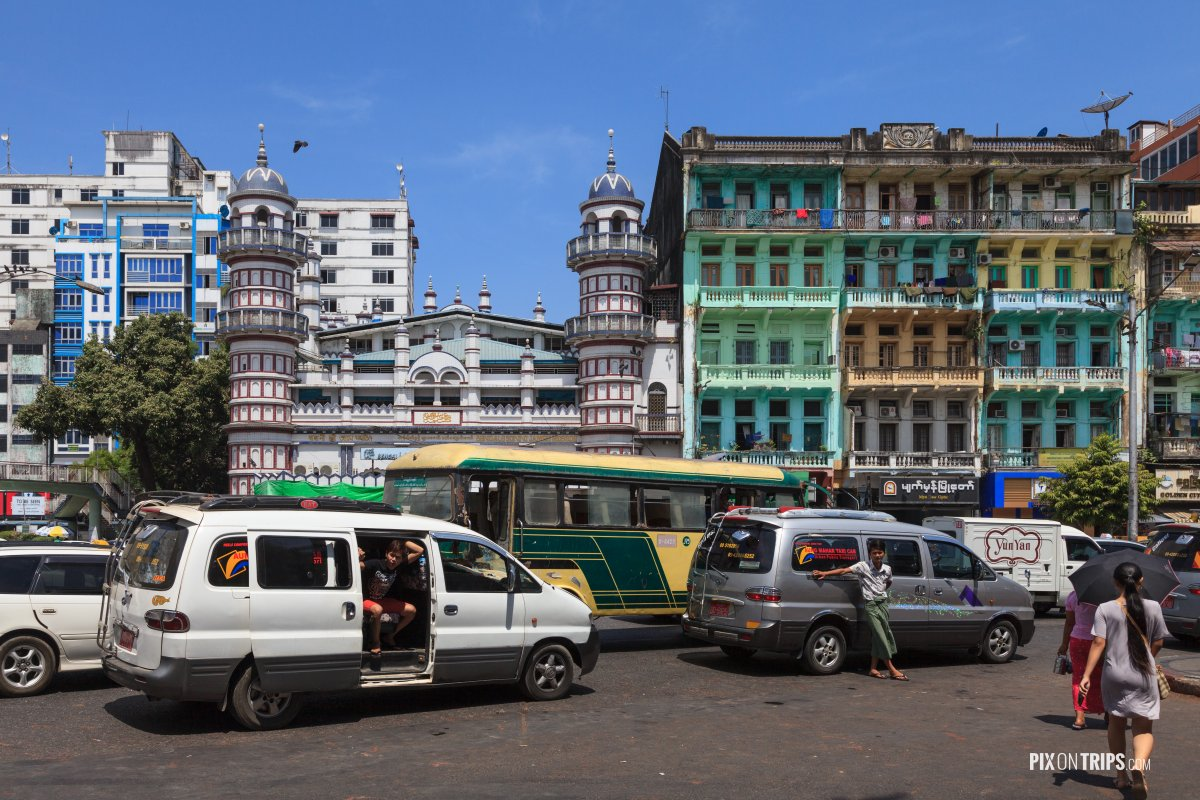 British colonial style architecture in downtown Yangon, Myanmar - Pix on Trips