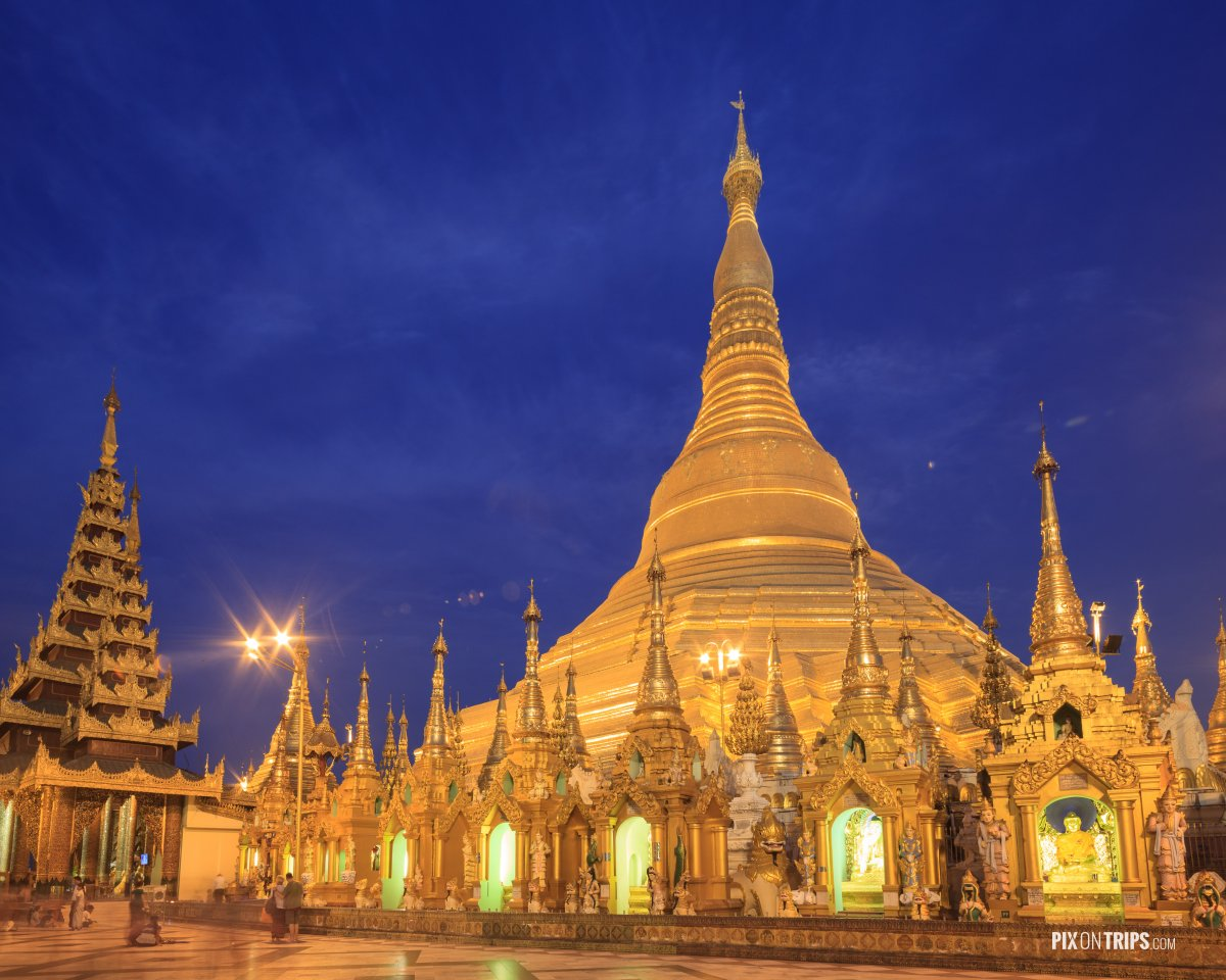 Shwedagon Pagoda at night, Yangon, Myanmar - Pix on Trips