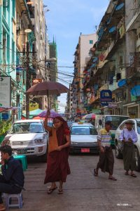 Street surrounded by apartment buildings in Yangon, Myanmar - Pix on Trips
