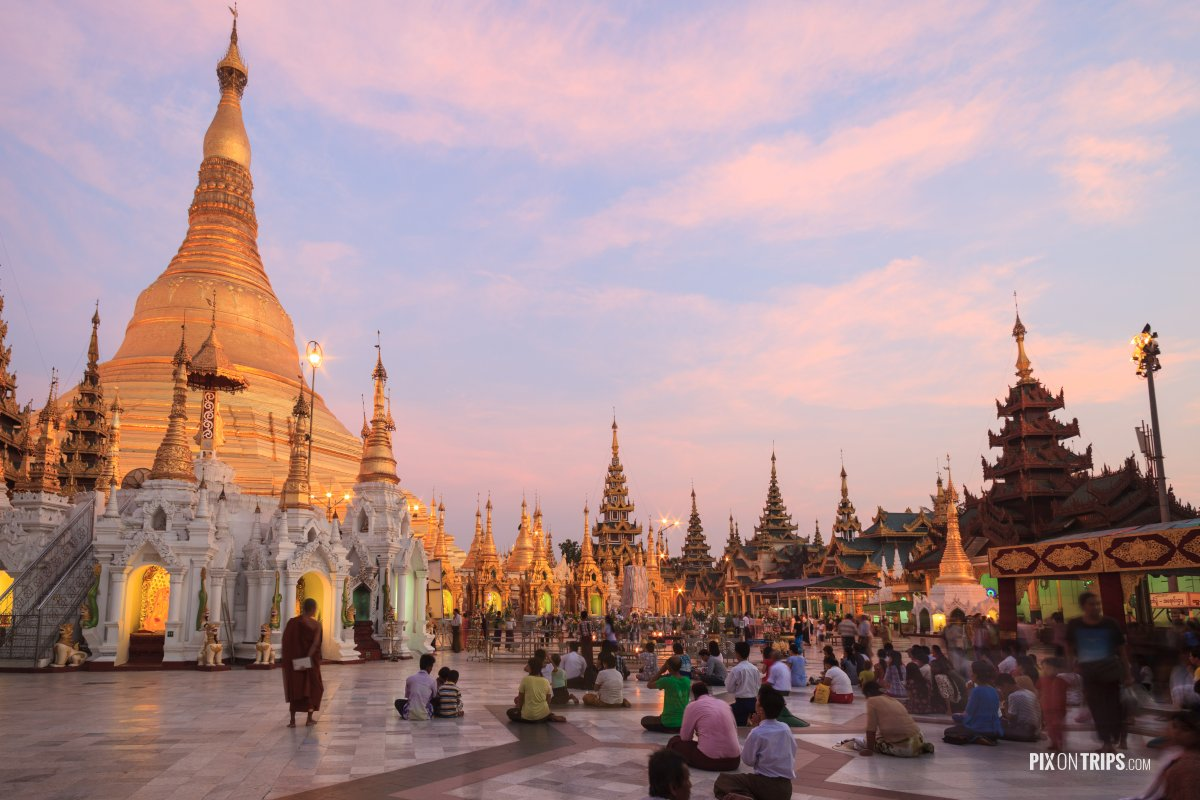 Sunset prayer at Shwedagon Pagoda, Yangon, Myanmar - Pix on Trips