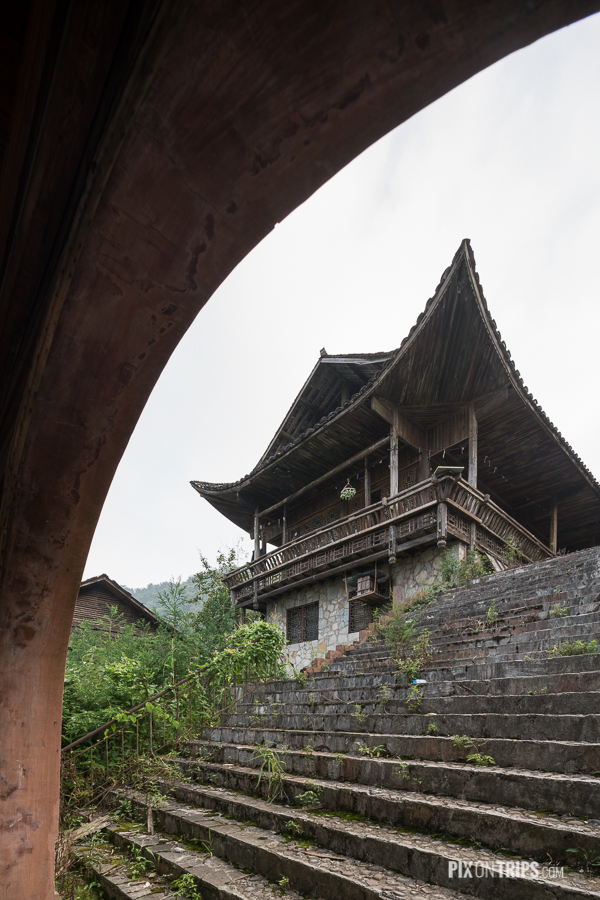 Traditional Tujia ethnic minorities house in Zhangjiajie, Hunan, China