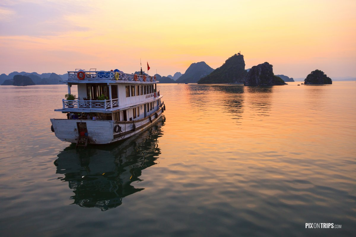 Halong Bay with Tour Boat at Sunset - Pix on Trips