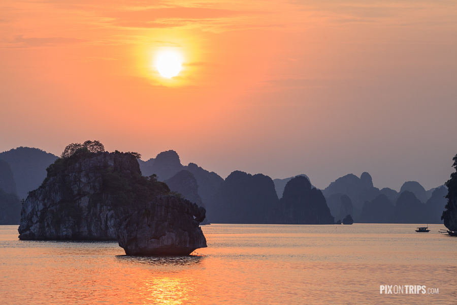 Halong Bay at Sunset Vietnam, Vietnam