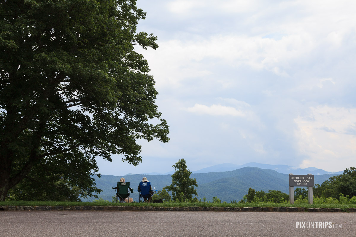 Travellers resting beside Blue Ridge Parkway