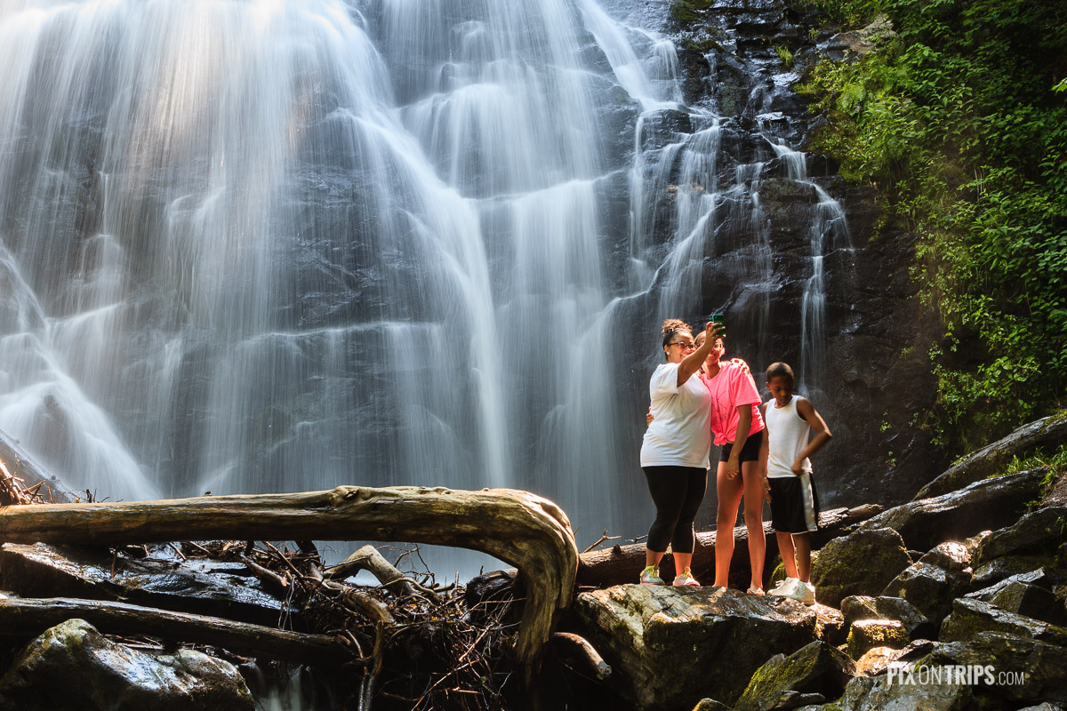 Family selfie in front of Crabtree Falls, Blue Ridge Park Way, NC, USA