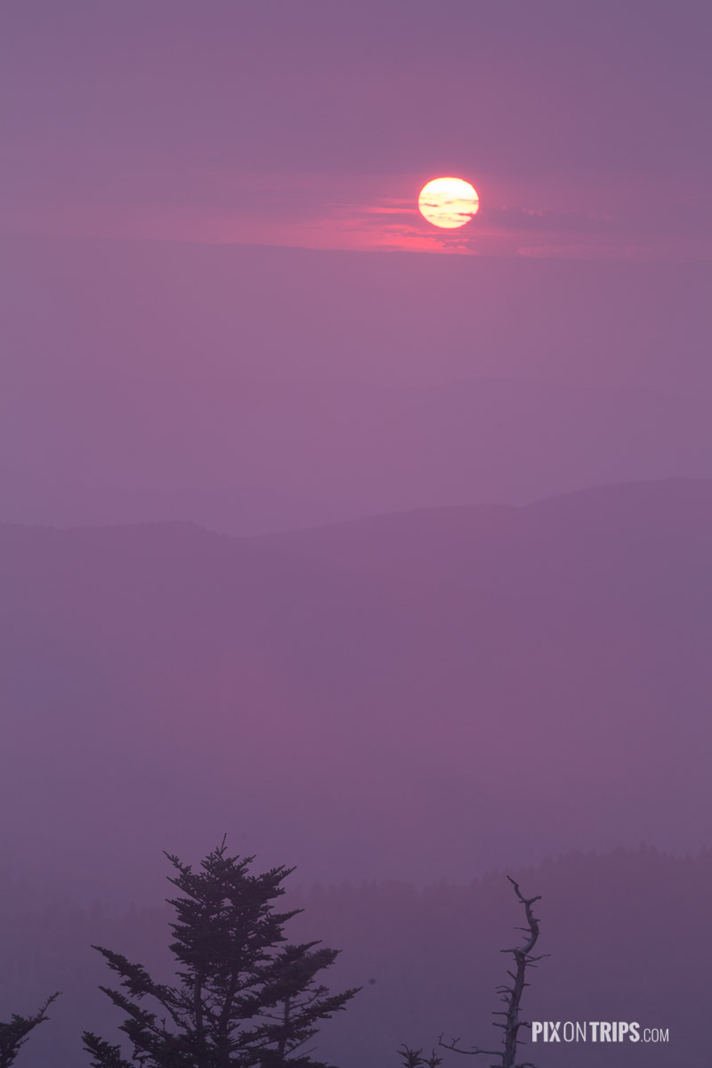 Sunset at Clingmans Dome, Smoky Mountains National Park - Pix on Trips