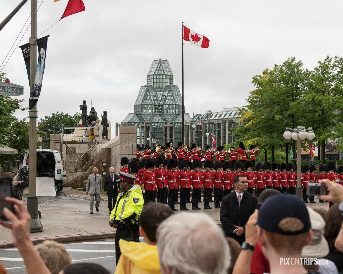 Governor General David Johnston and Charles Philip Arthur George, Prince of Whales inspect the guard on Canada Day in front the National Gallery of Canada - Pix on Trips