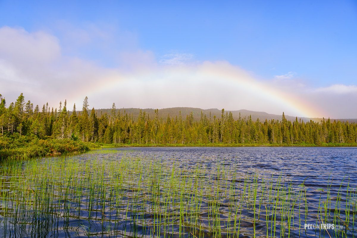 Rainbow at Lac à Pierre, Parc National de la Gaspesie - Pix on Trips