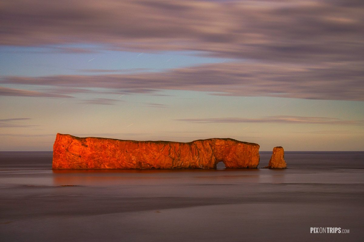Percé Rock of Quebec under moon light