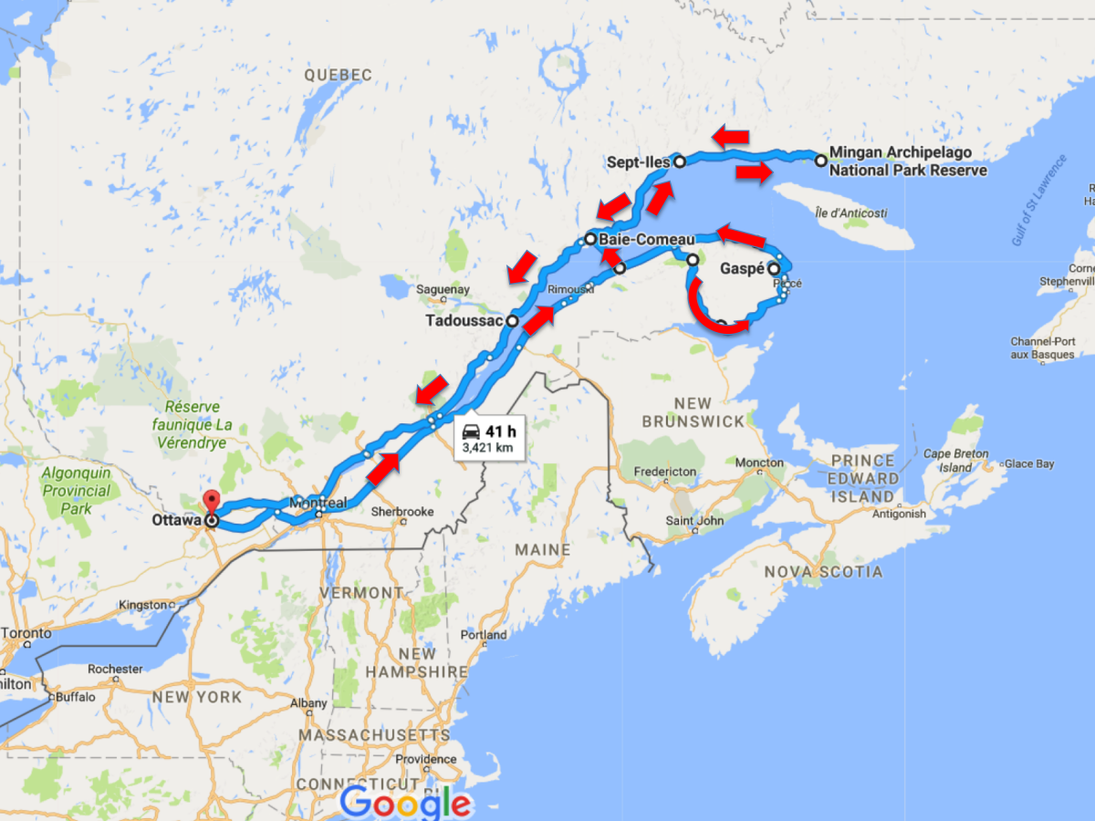 Route Map of our road trip - Pix on Trips