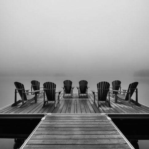 Adirondack deck chairs on lake dock in Parc National du Mont-Tremblant - Pix on Trips
