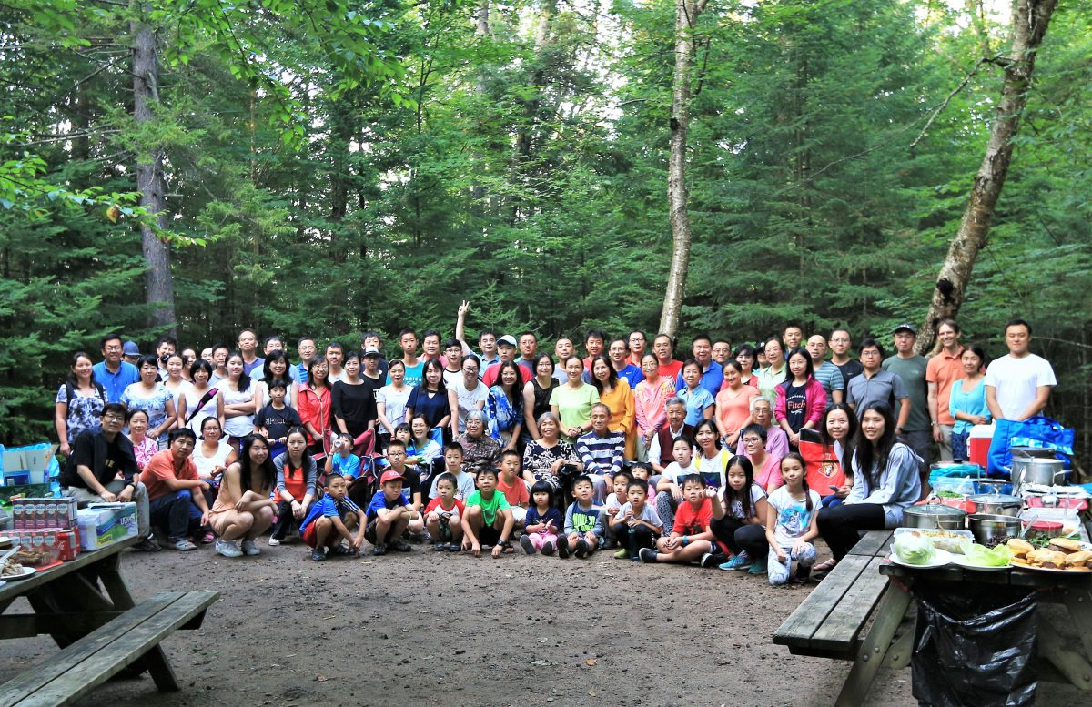 Group photo before potluck, Parc National du Mont-Tremblant. Photo Credit: Weigang Li